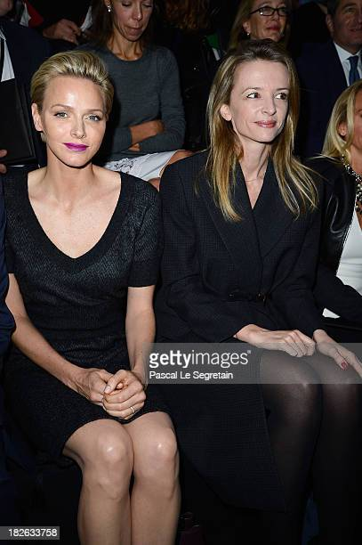 Princess Charlene of Monaco and Delphine Arnault attend the Louis Vuitton show as part of the Paris Fashion Week Womenswear Spring/Summer 2014 at Le...