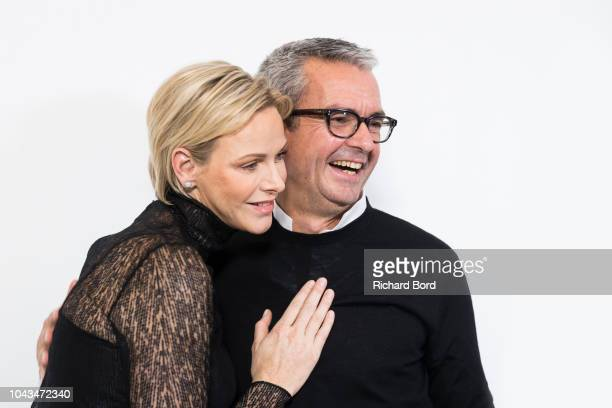 Princess Charlene of Monaco and designer Albert Kriemler are seen backstage after the Akris show as part of the Paris Fashion Week Womenswear...