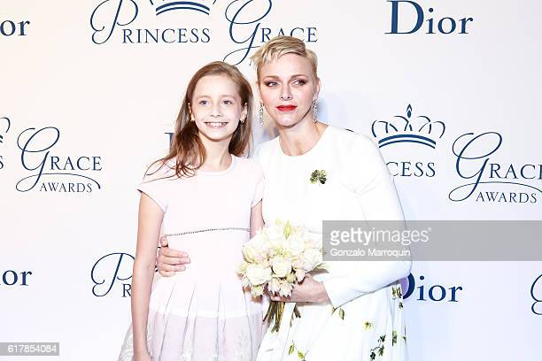 Princess Charlene of Monaco and Giselle Paulson attends the 2016 Princess Grace Awards Gala at Cipriani 25 Broadway on October 24 2016 in New York...