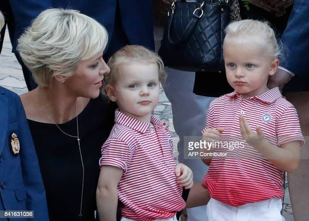 Princess Charlene of Monaco and her twins Prince Jacques and Princess Gabriella take part in the traditional Monaco's picnic in Monaco on September 1...