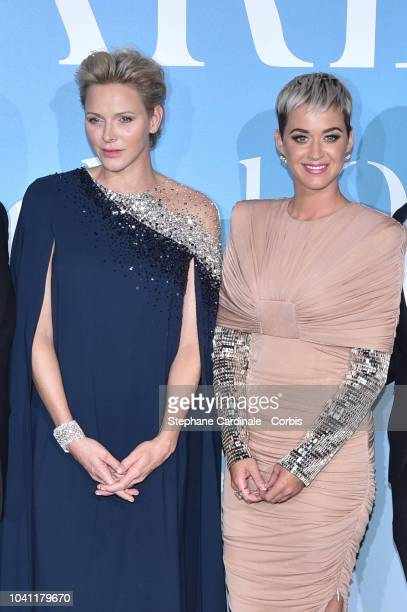 Princess Charlene of Monaco and Katy Perry attend the MonteCarlo Gala for the Global Ocean 2018 on September 26 2018 in MonteCarlo Monaco