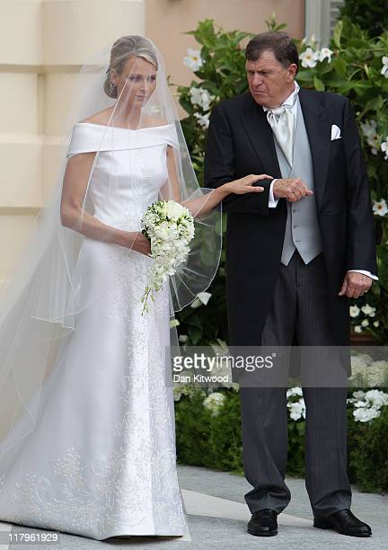 Princess Charlene of Monaco and Michael Kenneth Wittstock arrive at the religious ceremony of the Royal Wedding of Prince Albert II of Monaco to...