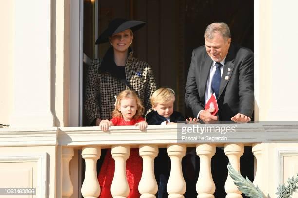 Princess Charlene of Monaco and Michael Wittstock with children Princess Gabriella of Monaco and Prince Jacques of Monaco attend Monaco National Day...