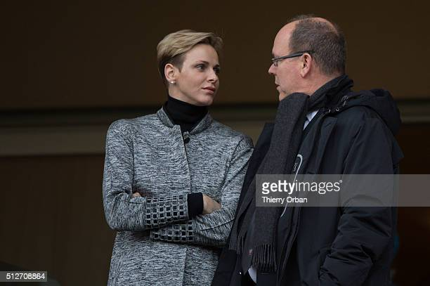 Princess Charlene of Monaco and Prince Albert II attend the 6th Sainte Devote Rugby Tournament at Stade Louis II on February 27 2016 in Monaco Monaco