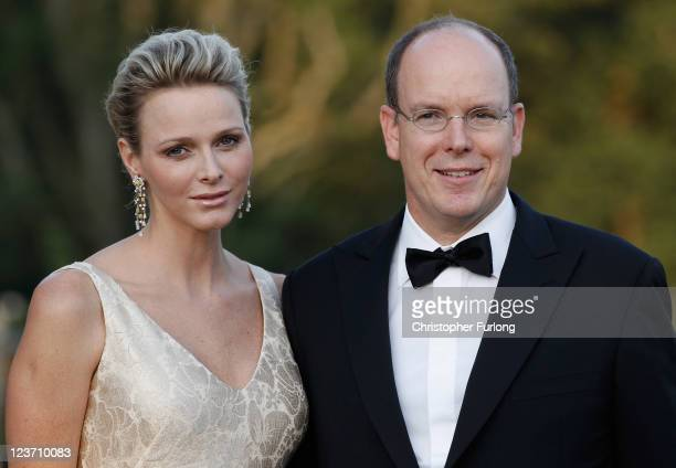 Princess Charlene of Monaco and Prince Albert II attend the Yorkshire Variety Club Golden Ball at Harewood House on September 4, 2011 in Leeds,...