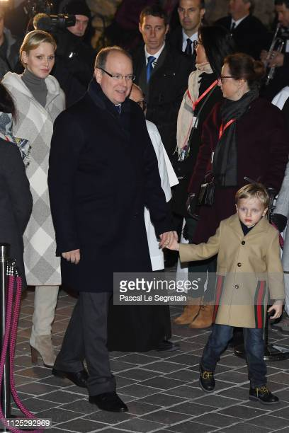 Princess Charlene of Monaco and Prince Albert II of Monaco and with Prince Jacques of Monaco attend the Ceremony Of The SainteDevote In Monaco on...