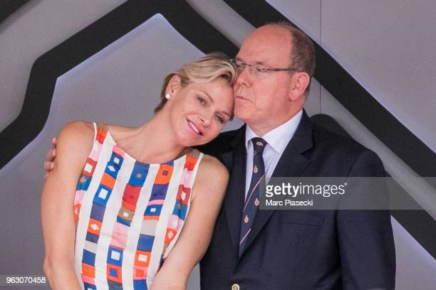 Princess Charlene of Monaco and Prince Albert II of Monaco are seen on the podium at Circuit de Monaco on May 27, 2018 in Monte-Carlo, Monaco.