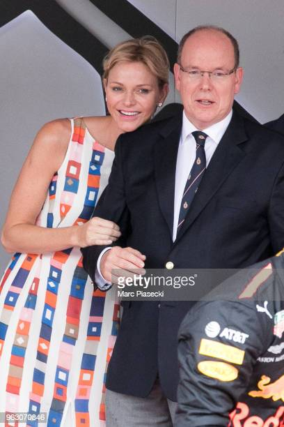 Princess Charlene of Monaco and Prince Albert II of Monaco are seen on the podium at Circuit de Monaco on May 27 2018 in MonteCarlo Monaco