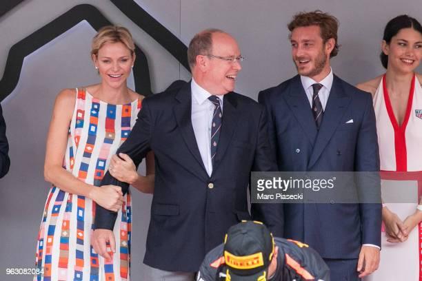 Princess Charlene of Monaco and Prince Albert II of Monaco are seen on the podium at Circuit de Monaco on May 27 2018 in MonteCarlo Monaco