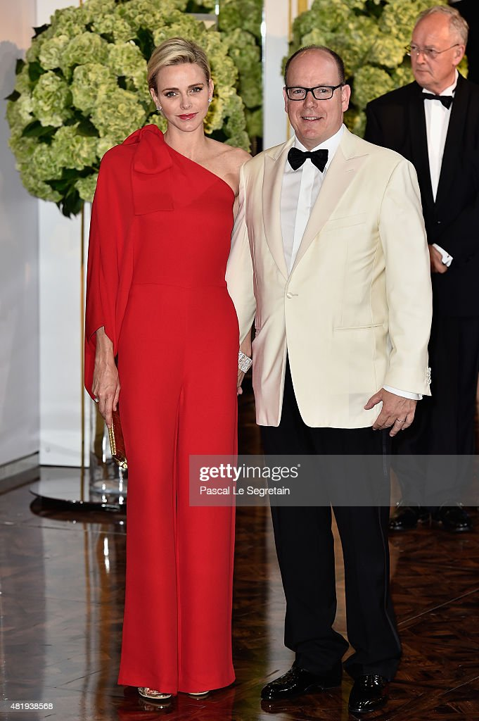 Princess Charlene of Monaco and Prince Albert II of Monaco arrive at the Monaco Red Cross Gala on July 25, 2015 in Monte-Carlo, Monaco.