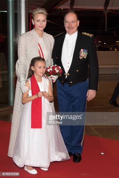 Princess Charlene of Monaco and Prince Albert II of Monaco arrive at the Monaco National Day Gala in Grimaldi Forum on November 19 2017 in Monaco...