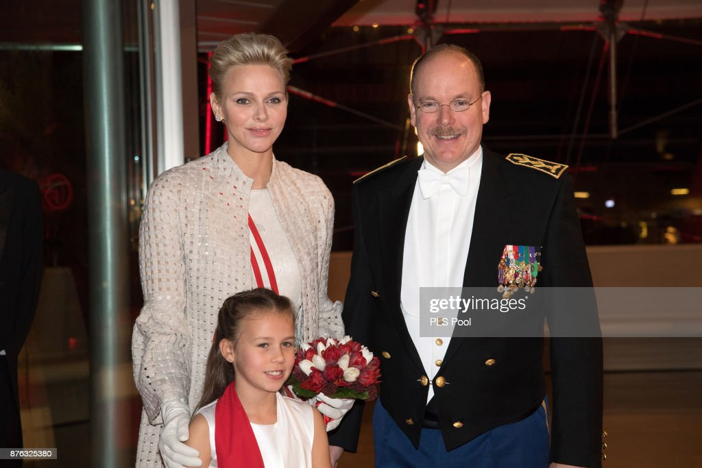 Princess Charlene of Monaco and Prince Albert II of Monaco arrive at the Monaco National Day Gala in Grimaldi Forum on November 19, 2017 in Monaco, Monaco.
