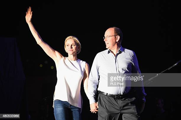 Princess Charlene of Monaco and Prince Albert II of Monaco arrive onstage during the Second Day of the 10th Anniversary on the Throne Celebrations on...