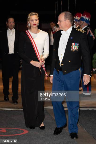 Princess Charlene of Monaco and Prince Albert II of Monaco attend a Gala during Monaco National Day on November 19 2018 in MonteCarlo Monaco