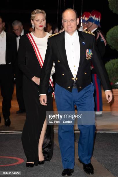 Princess Charlene of Monaco and Prince Albert II of Monaco attend a Gala during Monaco National Day on November 19, 2018 in Monte-Carlo, Monaco.