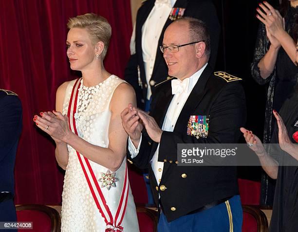 Princess Charlene of Monaco and Prince Albert II of Monaco attend a Gala during the Monaco National Day on November 19, 2016 in Monaco, Monaco.