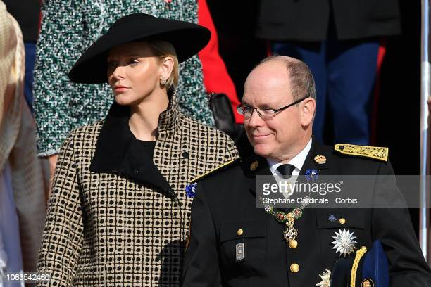 Princess Charlene of Monaco and Prince Albert II of Monaco attend Monaco National Day Celebrations on November 19 2018 in MonteCarlo Monaco