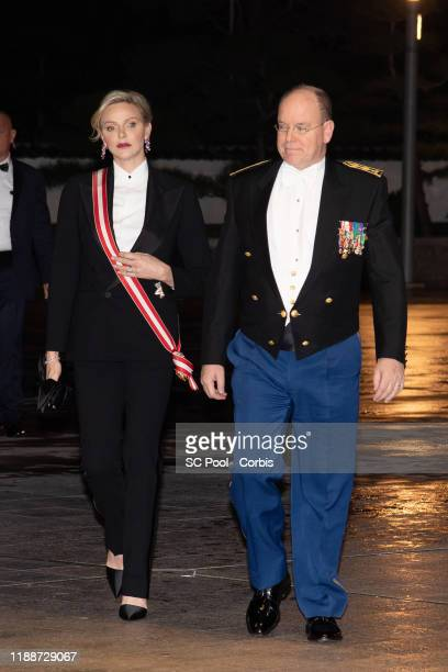 Princess Charlene of Monaco and Prince Albert II of Monaco attend the gala at the Opera during Monaco National Day celebrations on November 19, 2019...