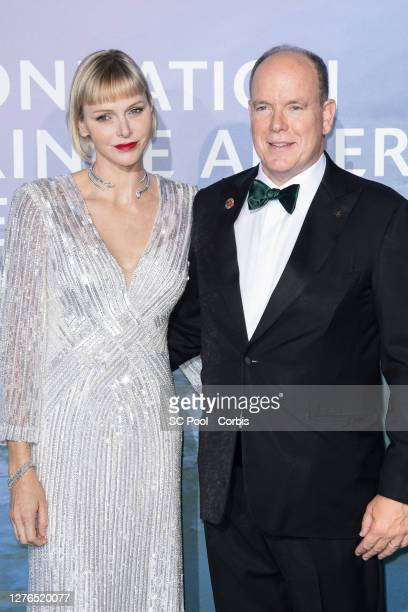 Princess Charlene of Monaco and Prince Albert II of Monaco attend the Monte-Carlo Gala For Planetary Health on September 24, 2020 in Monte-Carlo,...