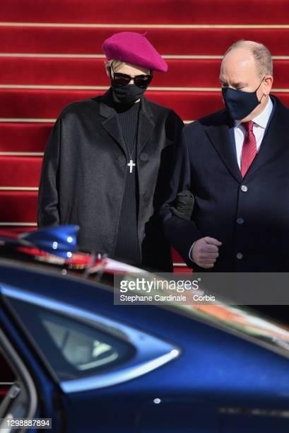 Princess Charlene of Monaco and Prince Albert II of Monaco attend the Sainte Devote Ceremony at the Monaco Cathedral on January 27, 2021 in Monaco,...