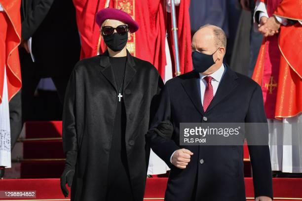 Princess Charlene of Monaco and Prince Albert II of Monaco attend the Sainte Devote Ceremony on January 27, 2021 in Monaco, Monaco. Sainte Devote is...