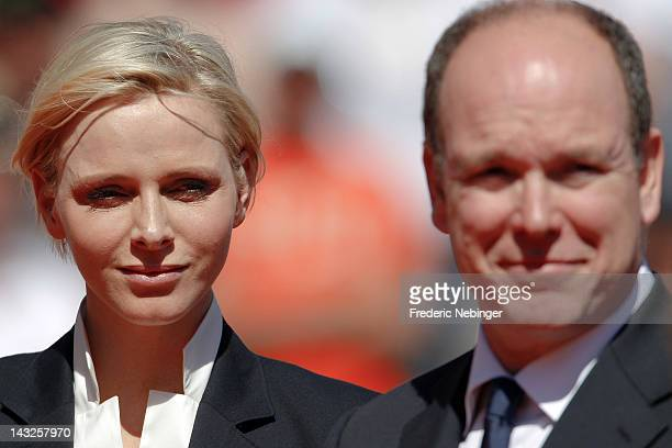 Princess Charlene of Monaco and Prince Albert II of Monaco attend the Monte Carlo Rolex Masters final on April 22 2012 in MonteCarlo Monaco