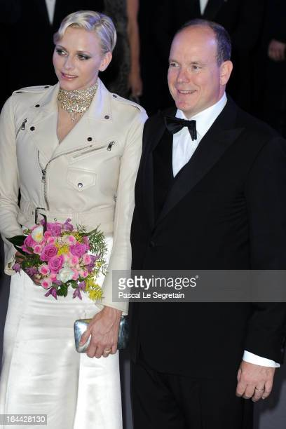 Princess Charlene of Monaco and Prince Albert II of Monaco attend the 'Bal De La Rose Du Rocher' in aid of the Fondation Princess Grace on the 150th...