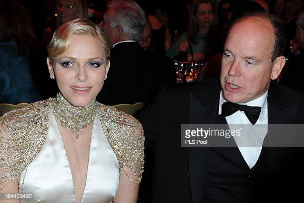 Princess Charlene of Monaco and Prince Albert II of Monaco attend the 'Bal De La Rose Du Rocher' in aid of the Fondation Princess Grace on the 150th...