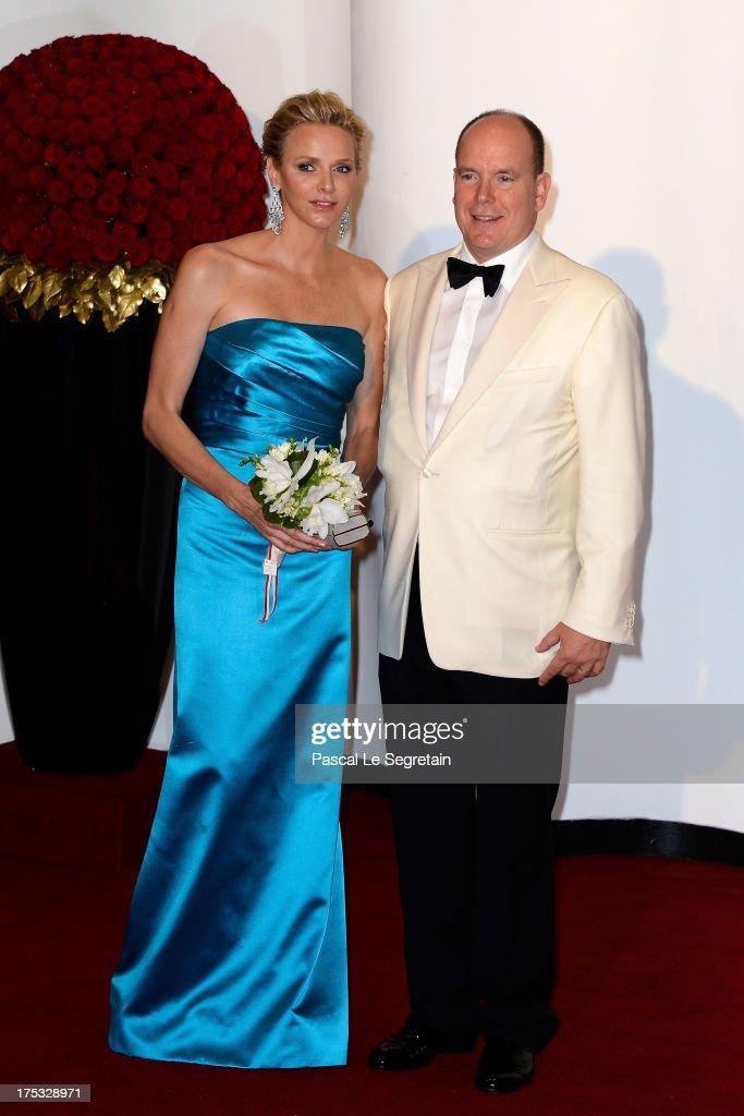 Princess Charlene of Monaco and Prince Albert II of Monaco attend the 65th Monaco Red Cross Ball Gala at Sporting Monte-Carlo on August 2, 2013 in Monte-Carlo, Monaco.