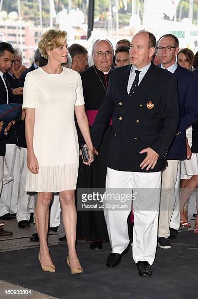 Princess Charlene of Monaco and Prince Albert II of Monaco attend the Monaco Yacht Club Opening on June 20 2014 in MonteCarlo Monaco