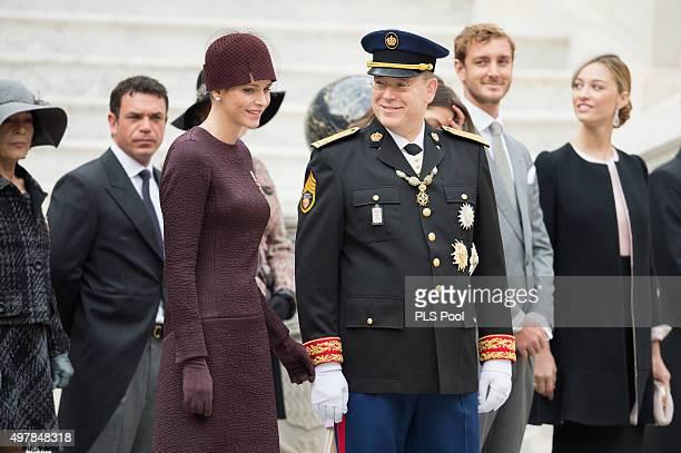 Princess Charlene of Monaco and Prince Albert II of Monaco attend the Monaco National Day Celebrations on November 19 2015 in Monaco Monaco
