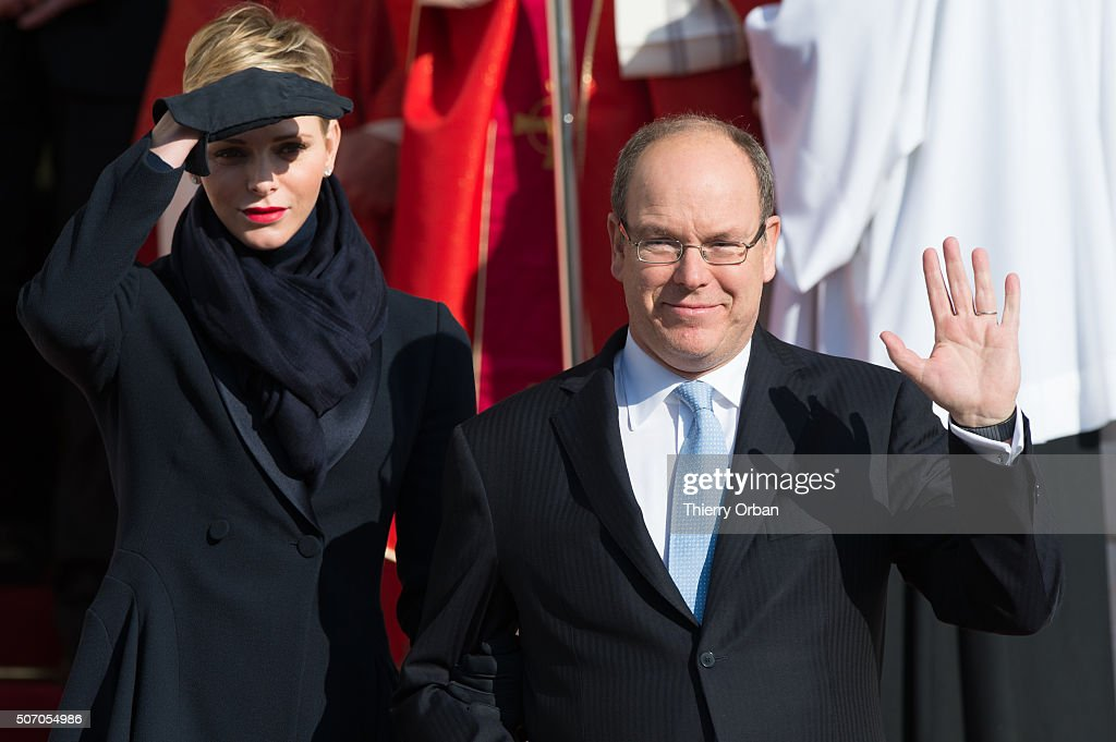 Princess Charlene of Monaco and Prince Albert II of Monaco attend the Ceremony of the Sainte-Devote, the patron saint of the Principality of Monaco and Corsica on January 27, 2015 in Monaco. (Photo by Thierry Orban/Getty Images))
