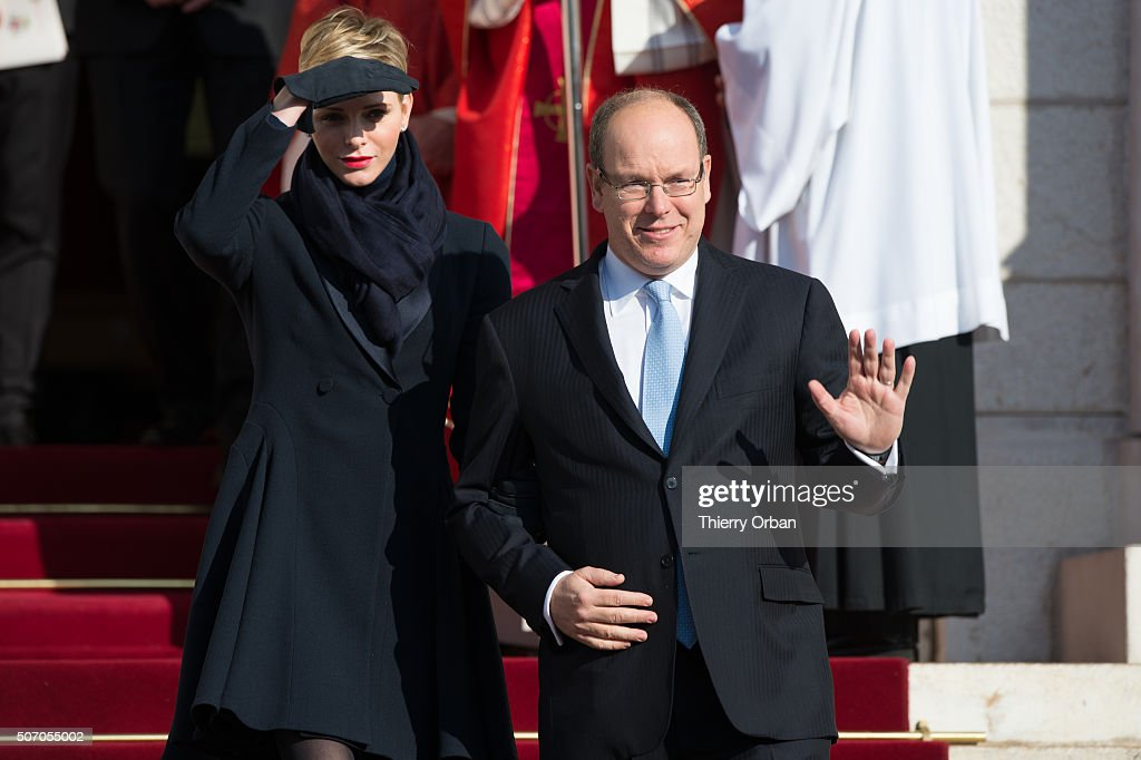 Princess Charlene of Monaco and Prince Albert II of Monaco attend the Ceremony of the Sainte-Devote, the patron saint of the Principality of Monaco and Corsica on January 27, 2015 in Monaco.