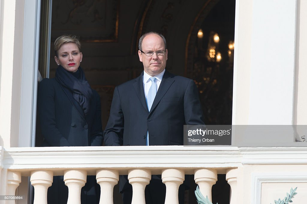 Princess Charlene of Monaco and Prince Albert II of Monaco attend the Ceremony Of The Sainte-Devote from the Balcony of the Monaco Palace on January 27, 2015 in Monaco. Sainte devote is the patron saint of The Principality Of Monaco and France's Mediterranean Corsica island.