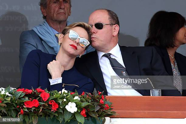 Princess Charlene of Monaco and Prince Albert II of Monaco attend the singles final match between Rafael Nadal of Spain and Gael Monfils of France...