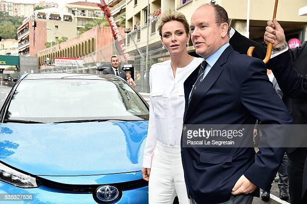 Princess Charlene of Monaco and Prince Albert II of Monaco attend the F1 Grand Prix of Monaco on May 29 2016 in MonteCarlo Monaco