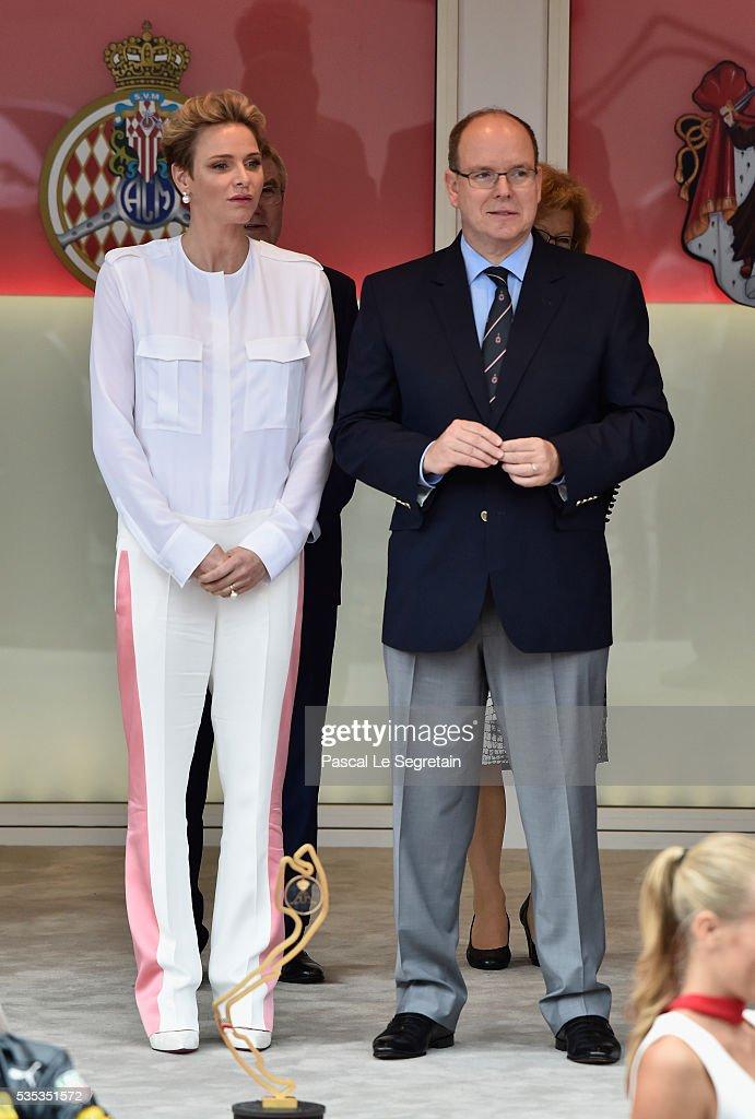 Princess Charlene of Monaco and Prince Albert II of Monaco attend the F1 Grand Prix of Monaco on May 29, 2016 in Monte-Carlo, Monaco on May 29, 2016 in Monte-Carlo, Monaco.