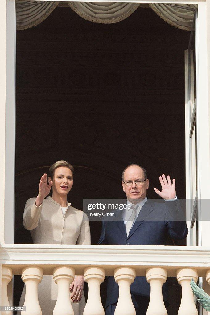 Princess Charlene of Monaco and Prince Albert II of Monaco attend the Ceremony of the Sainte-Devote, the patron saint of the Principality of Monaco and Corsica at the Monaco Palace on January 27, 2017 in Monaco, Monaco.