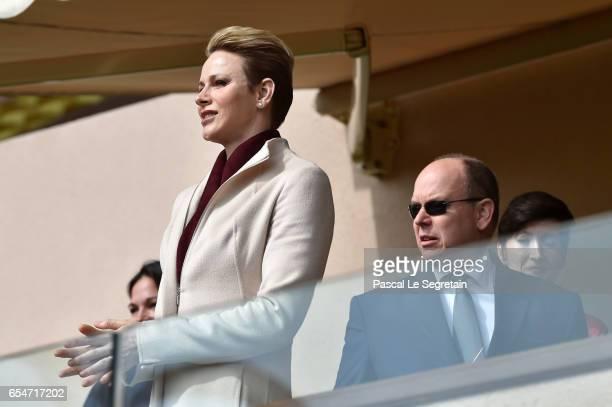 Princess Charlene of Monaco and Prince Albert II of Monaco attend the Sainte Devote Rugby Tournament on March 18 2017 in MonteCarlo Monaco
