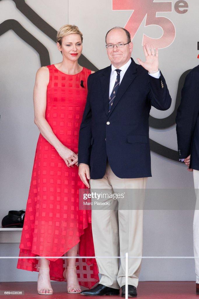 Princess Charlene of Monaco and Prince Albert II of Monaco attend the Monaco Formula 1 Grand Prix at the Monaco street circuit, on May 28, 2017 in Monaco.