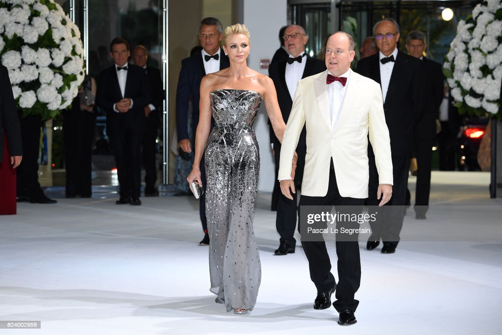Princess Charlene of Monaco and Prince Albert II of Monaco attend the 69th Monaco Red Cross Ball Gala at Sporting Monte-Carlo on July 28, 2017 in Monte-Carlo, Monaco.