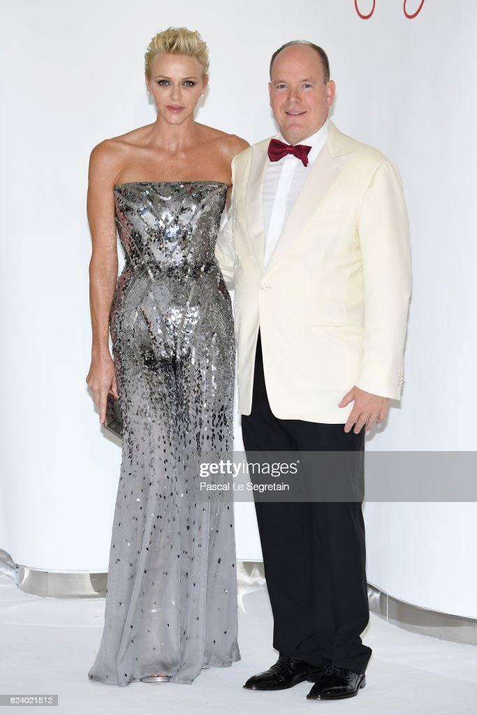 Princess Charlene of Monaco and Prince Albert II of Monaco attend the 69th Monaco Red Cross Ball Gala at Sporting Monte-Carlo on July 28, 2017 in Monte-Carlo, Monaco.