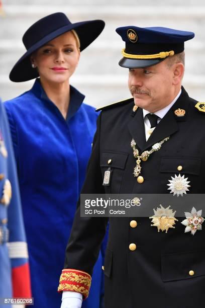 Princess Charlene of Monaco and Prince Albert II of Monaco attend the Monaco National day celebrations in Monaco Palace courtyard on November 19 2017...