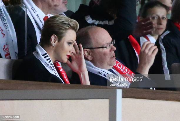 Princess Charlene of Monaco and Prince Albert II of Monaco during the UEFA Champions League semi final first leg match between AS Monaco and Juventus...
