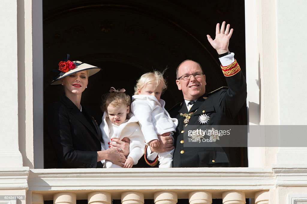 Princess Charlene of Monaco and Prince Albert II of Monaco greet the crowd from the palace's balcony with their children Princess Gabriella of Monaco and Prince Jacques of Monaco during the Monaco National Day Celebrations on November 19, 2016 in Monaco, Monaco.