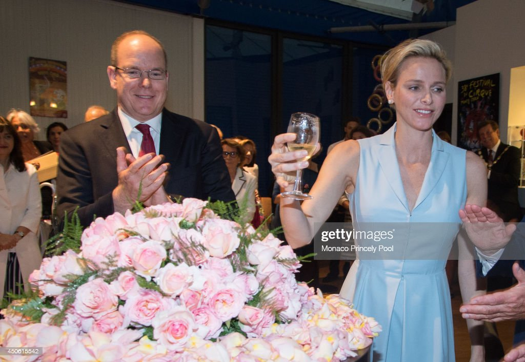 Princess Charlene of Monaco and Prince Albert II of Monaco inaugurate Princess Charlene rose during the Princess Grace Rose Garden reopening after 8 months of work on June 14, 2014 in Monaco, Monaco.