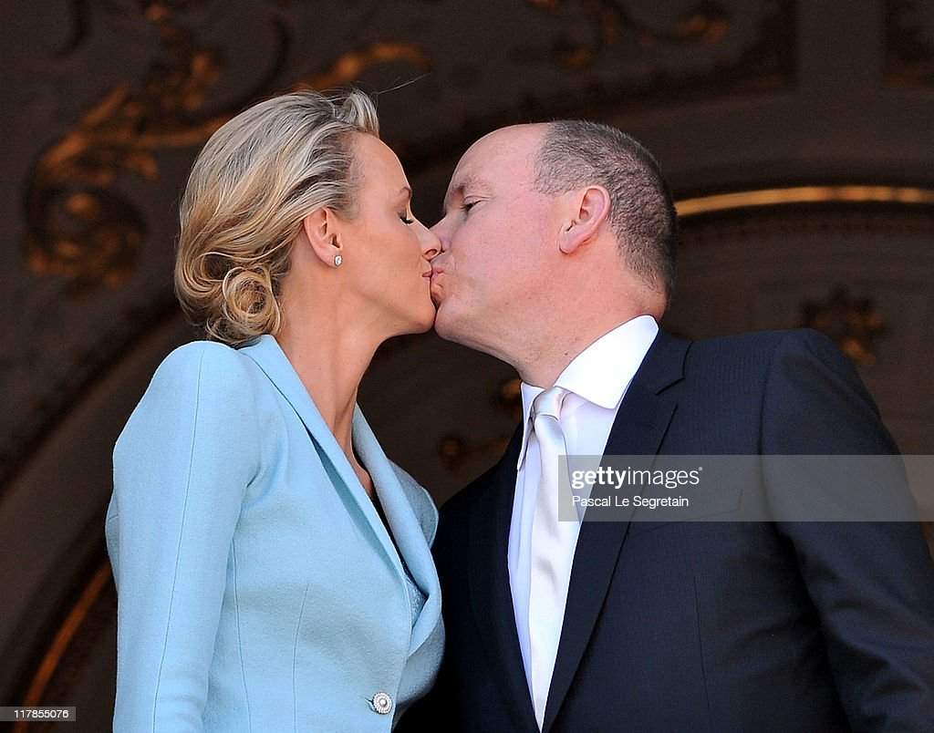 Princess Charlene of Monaco and Prince Albert II of Monaco kiss on the balcony after the civil ceremony of the Royal Wedding of Prince Albert II of Monaco to Charlene Wittstock at the Prince's Palace on July 1, 2011 in Monaco. The ceremony took place in the Throne Room of the Prince's Palace of Monaco, followed by a religious ceremony to be conducted in the main courtyard of the Palace on July 2. With her marriage to the head of state of Principality of Monaco, Charlene Wittstock has/will become Princess consort of Monaco and gain the title, Princess Charlene of Monaco. Celebrations including concerts and firework displays are being held across several days, attended by a guest list of global celebrities and heads of state.