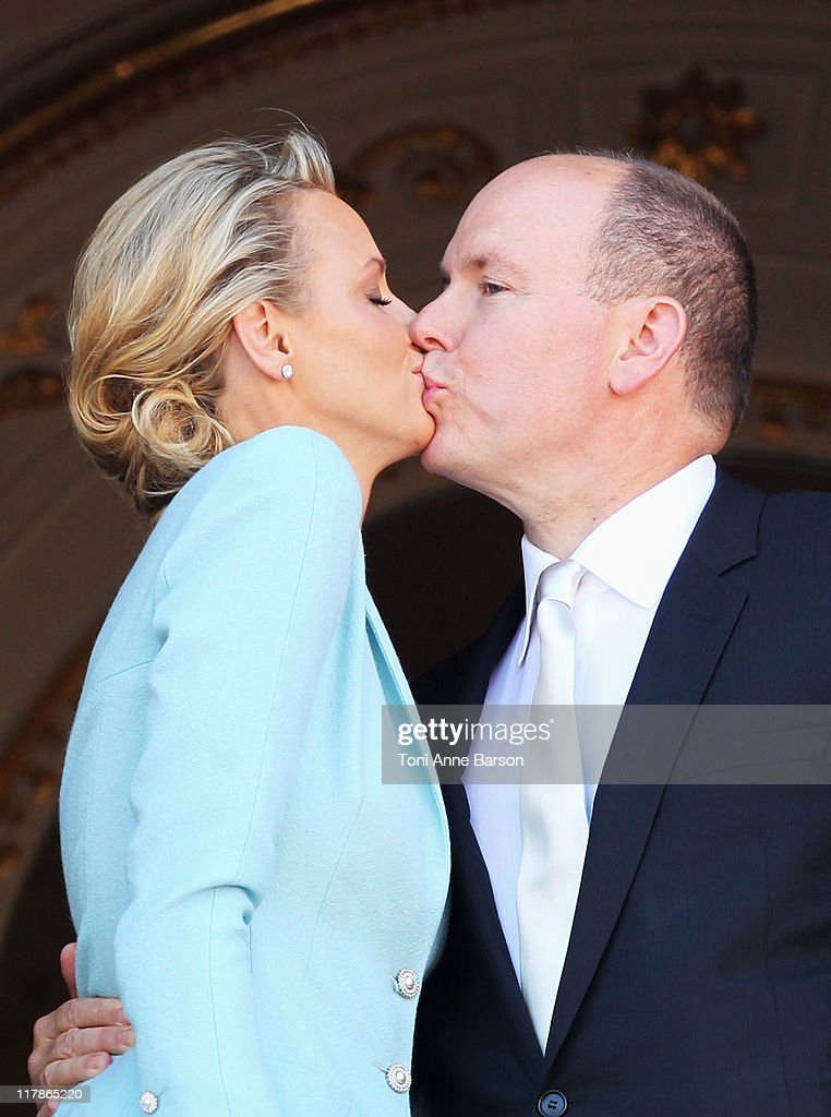 Princess Charlene of Monaco and Prince Albert II of Monaco kiss on the balcony after the civil ceremony of the Royal Wedding of Prince Albert II of Monaco to Charlene Wittstock at the Prince's Palace on July 1, 2011 in Monaco. The ceremony took place in the Throne Room of the Prince's Palace of Monaco, followed by a religious ceremony to be conducted in the main courtyard of the Palace on July 2. With her marriage to the head of state of Principality of Monaco, Charlene Wittstock has become Princess consort of Monaco and gain the title, Princess Charlene of Monaco. Celebrations including concerts and firework displays are being held across several days, attended by a guest list of global celebrities and heads of state.