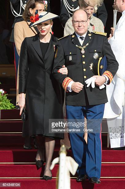 Princess Charlene of Monaco and Prince Albert II of Monaco leave the Monaco Cathedral during the Monaco National Day 2016 on November 19 2016 in...