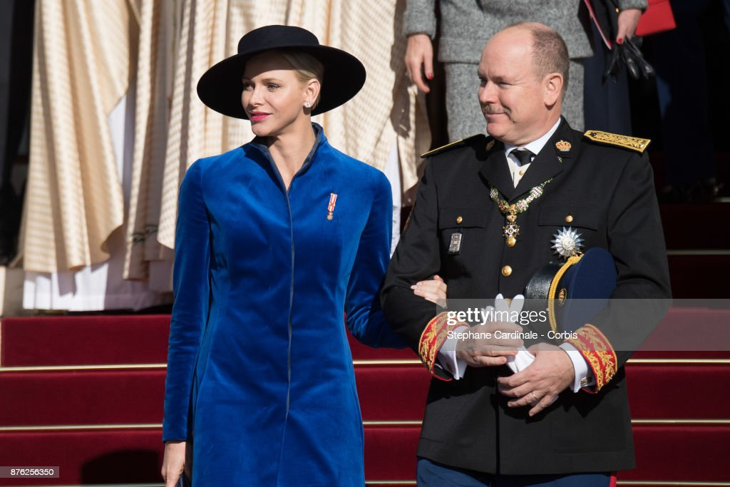 Princess Charlene of Monaco and Prince Albert II of Monaco leave the Cathedral of Monaco after a mass during the Monaco National Day Celebrations on November 19, 2017 in Monaco, Monaco.